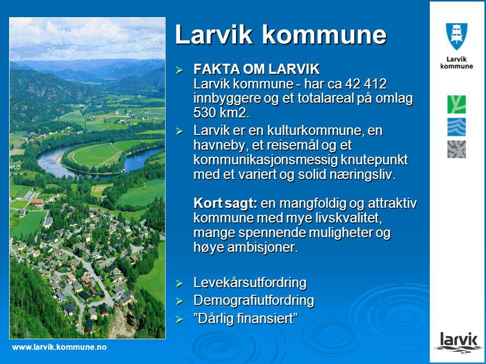 Larvik kommune FAKTA OM LARVIK Larvik kommune - har ca 42 412 innbyggere og et totalareal på omlag 530 km2.