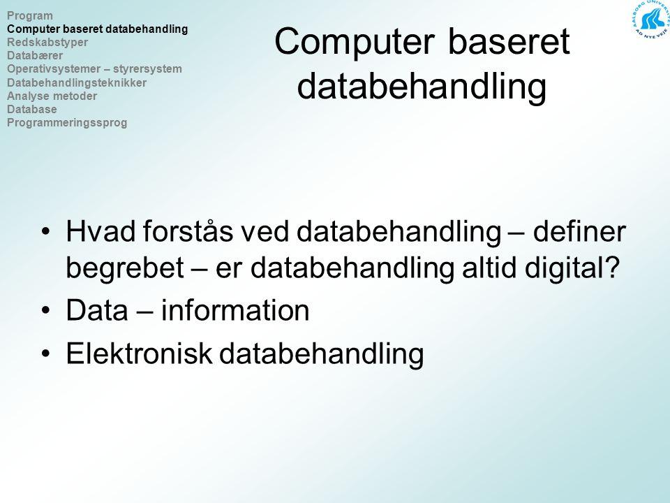 Computer baseret databehandling