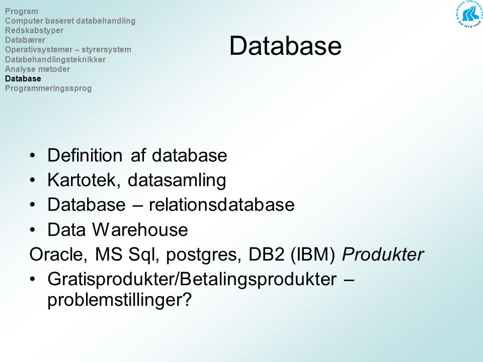 Database Definition af database Kartotek, datasamling