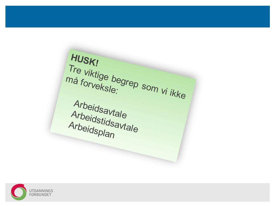 HUSK! Tre viktige begrep som vi ikke må forveksle: Arbeidsavtale Arbeidstidsavtale Arbeidsplan