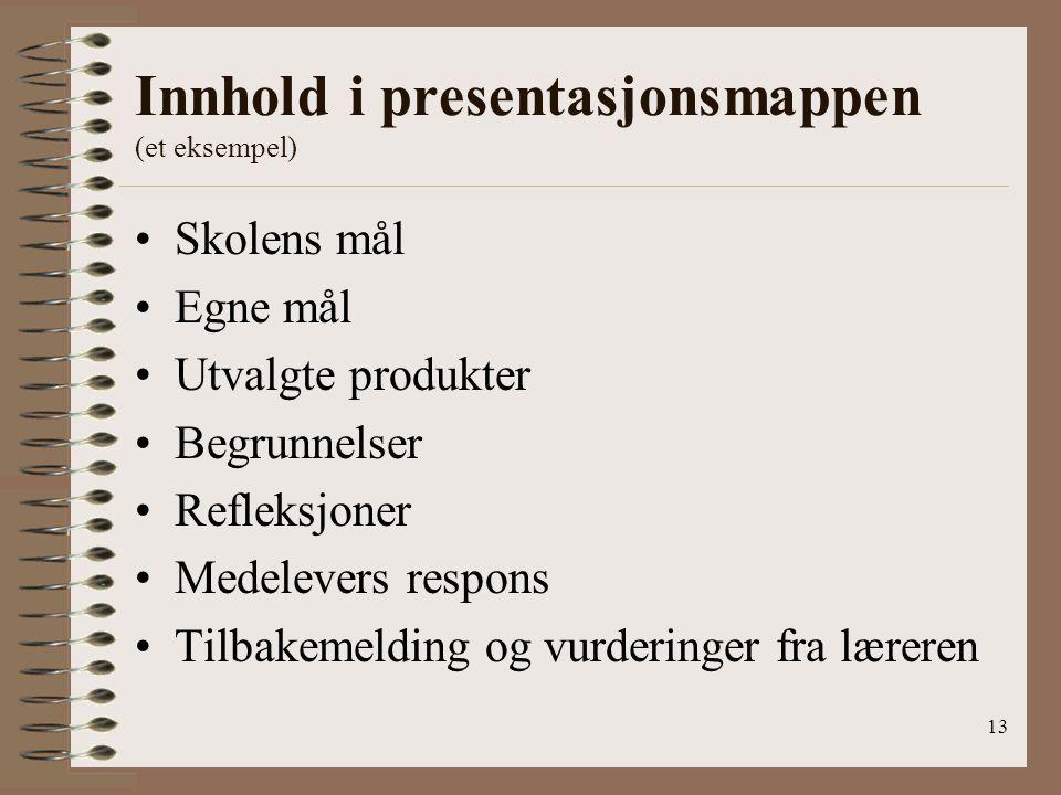 Innhold i presentasjonsmappen (et eksempel)