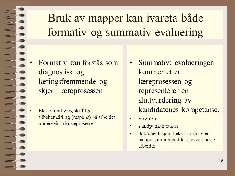 Bruk av mapper kan ivareta både formativ og summativ evaluering