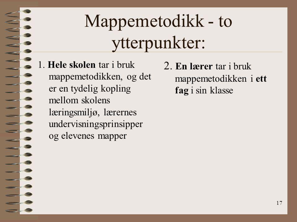 Mappemetodikk - to ytterpunkter: