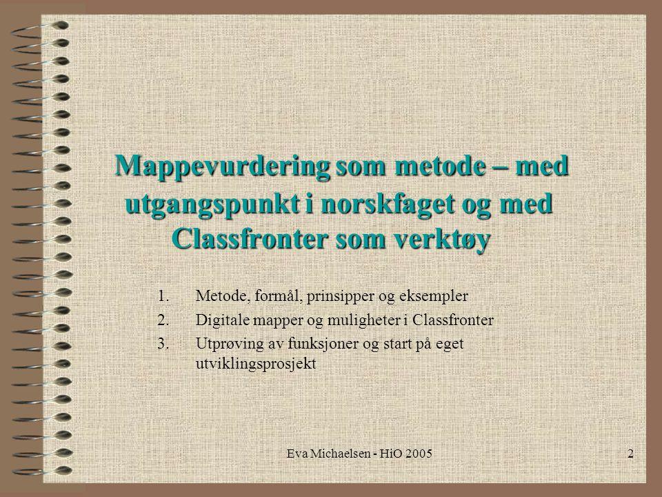 Mappevurdering som metode – med utgangspunkt i norskfaget og med Classfronter som verktøy