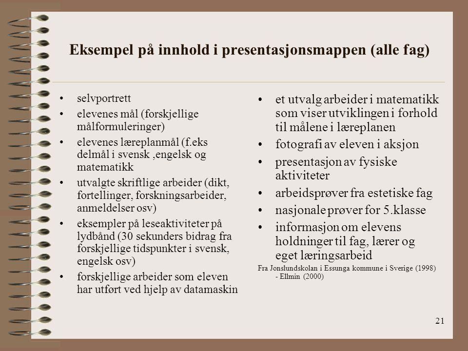Eksempel på innhold i presentasjonsmappen (alle fag)
