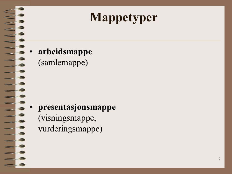 Mappetyper arbeidsmappe (samlemappe)