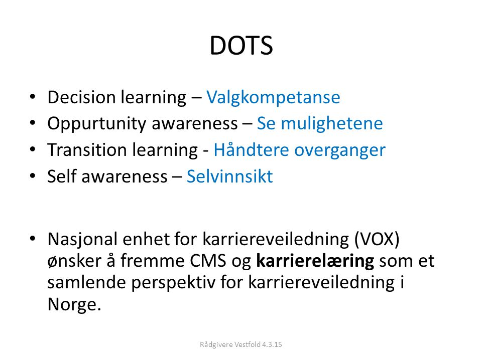 DOTS Decision learning – Valgkompetanse