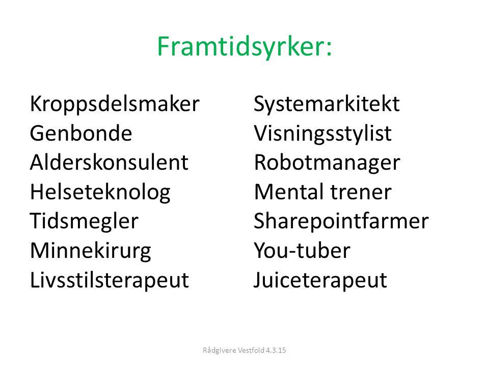 Framtidsyrker: Kroppsdelsmaker Genbonde Alderskonsulent Helseteknolog Tidsmegler Minnekirurg Livsstilsterapeut.
