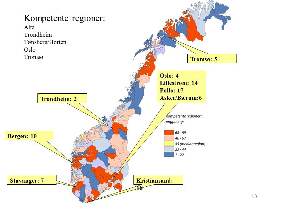Kompetente regioner: Alta Trondheim Tønsberg/Horten Oslo Tromsø