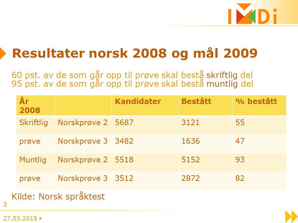 Resultater norsk 2008 og mål 2009