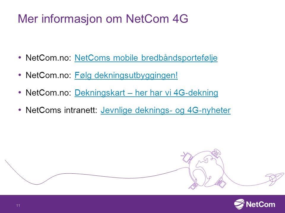 Mer informasjon om NetCom 4G