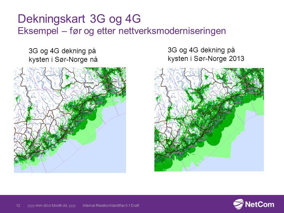 Dekningskart 3G og 4G Eksempel – før og etter nettverksmoderniseringen