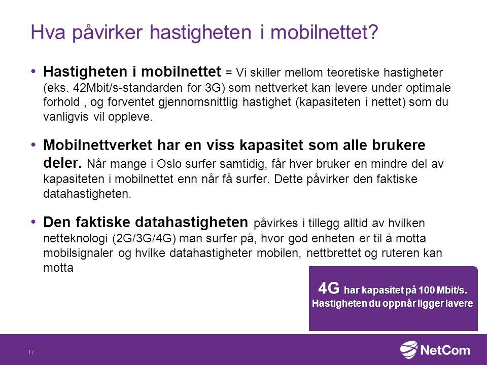 Hva påvirker hastigheten i mobilnettet