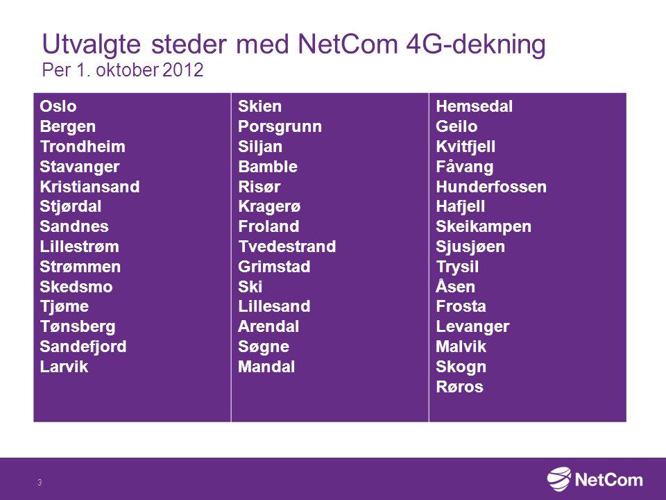 Utvalgte steder med NetCom 4G-dekning Per 1. oktober 2012