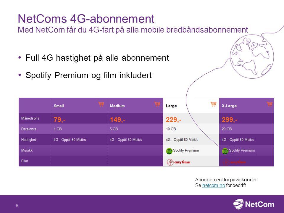 NetComs 4G-abonnement Med NetCom får du 4G-fart på alle mobile bredbåndsabonnement
