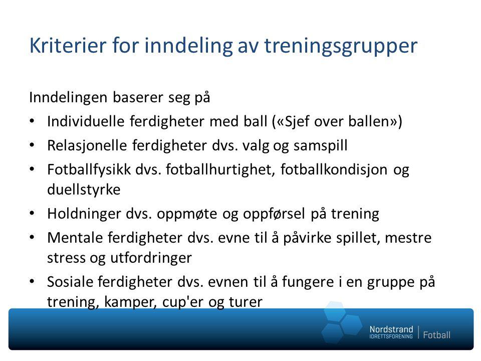 Kriterier for inndeling av treningsgrupper