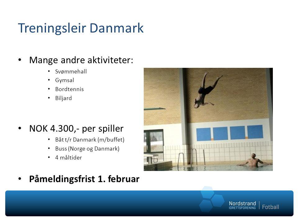 Treningsleir Danmark Mange andre aktiviteter: NOK 4.300,- per spiller