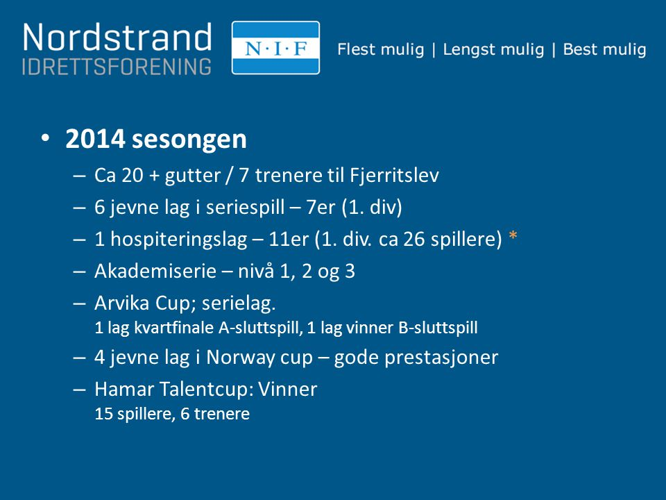 2014 sesongen Ca 20 + gutter / 7 trenere til Fjerritslev