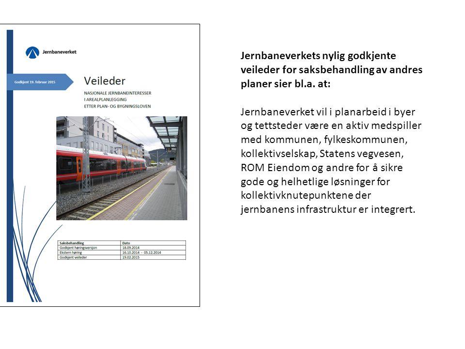 Jernbaneverkets nylig godkjente veileder for saksbehandling av andres planer sier bl.a. at: