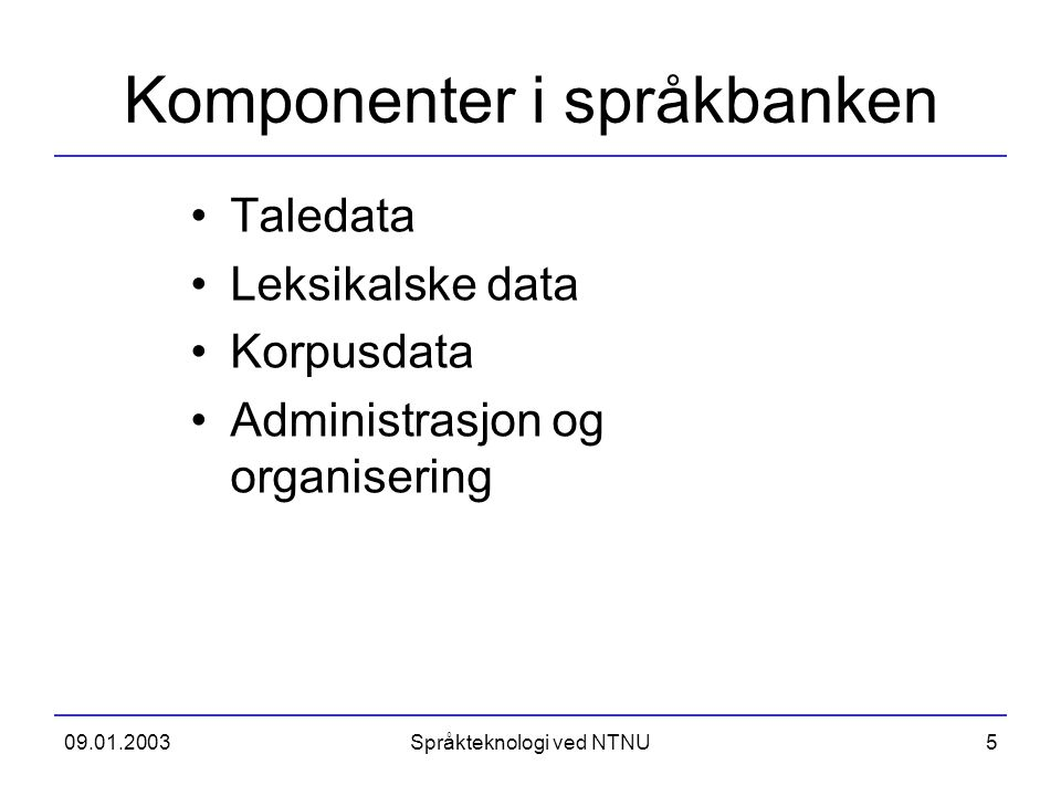 Komponenter i språkbanken