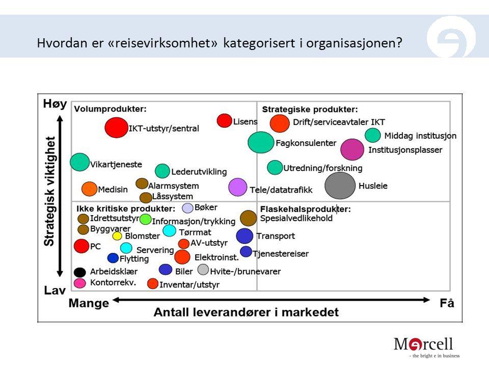 Hvordan er «reisevirksomhet» kategorisert i organisasjonen