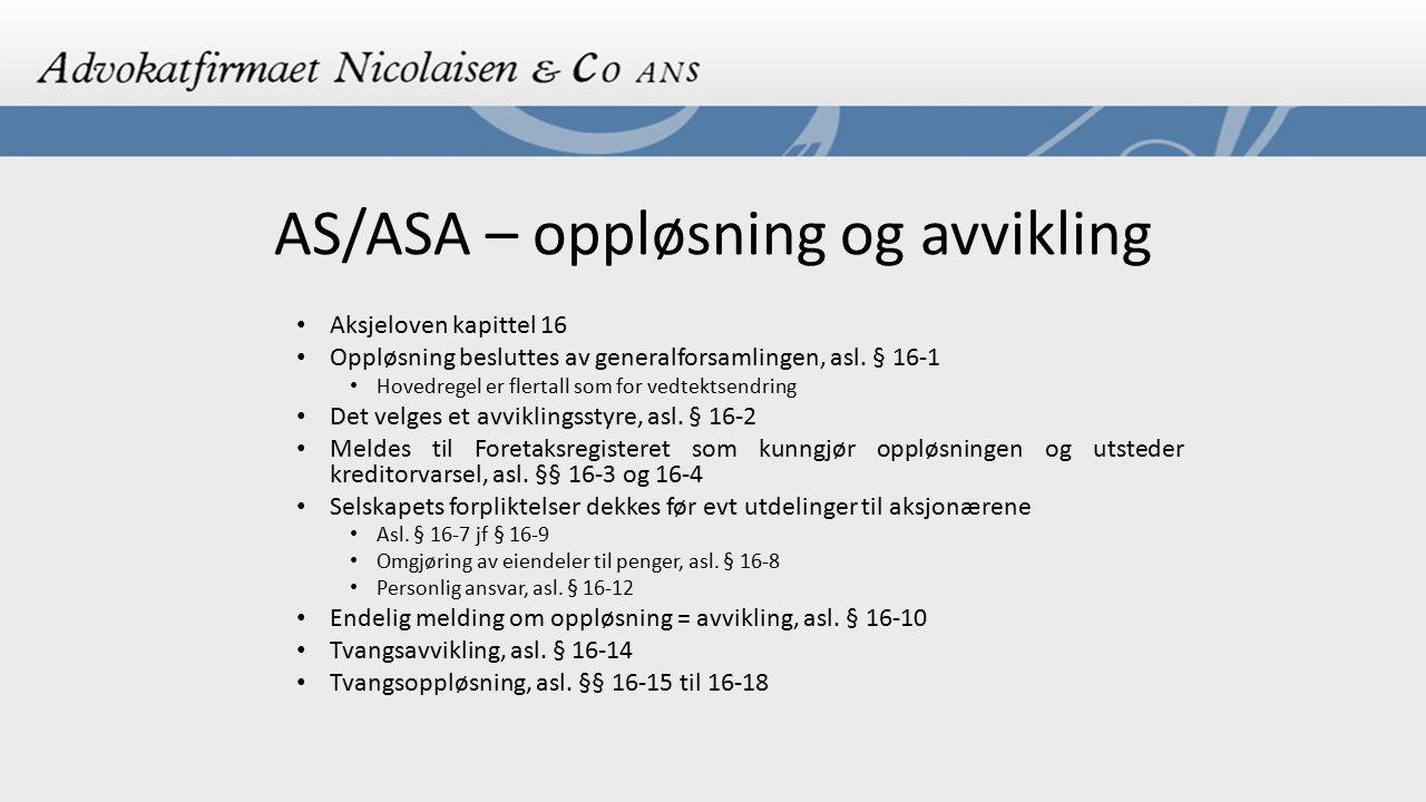 AS/ASA – oppløsning og avvikling