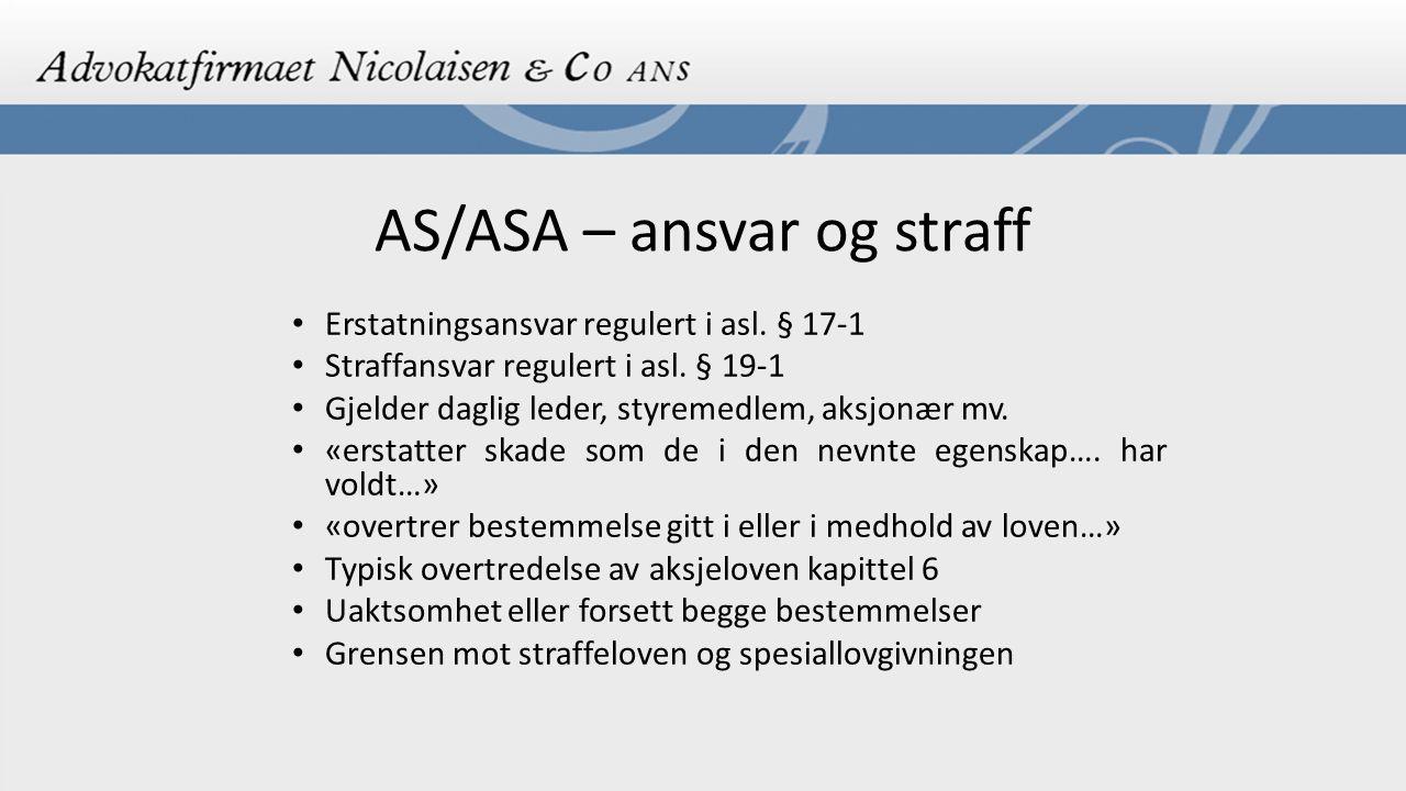 AS/ASA – ansvar og straff