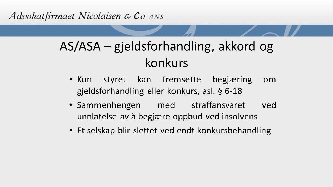 AS/ASA – gjeldsforhandling, akkord og konkurs
