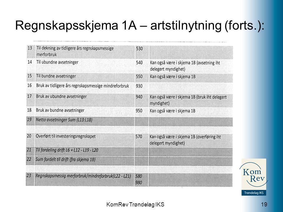 Regnskapsskjema 1A – artstilnytning (forts.):