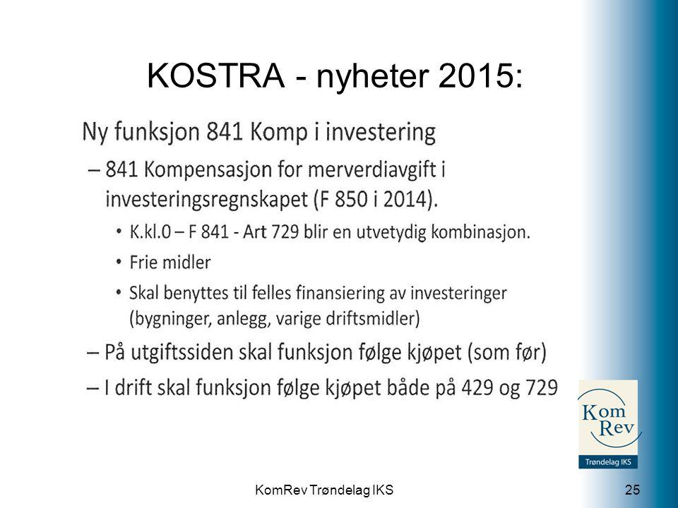 KOSTRA - nyheter 2015: 841 Kompensasjon for merverdiavgift i investeringsregnskapet.