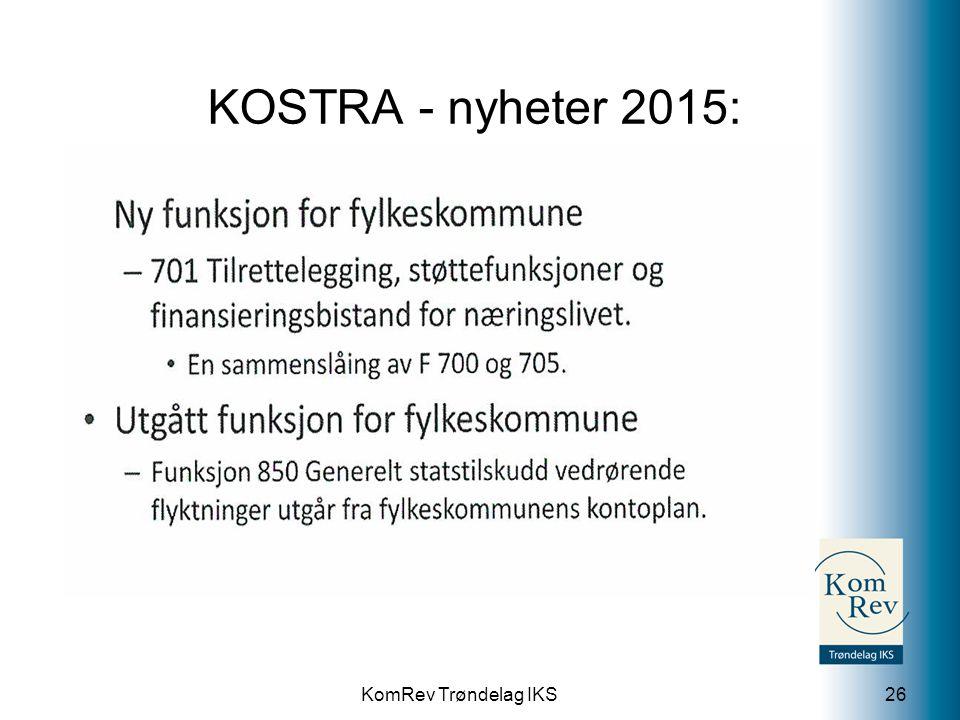 KOSTRA - nyheter 2015: 701 Tilrettelegging, støttefunksjoner og finansieringsbistand for næringslivet.