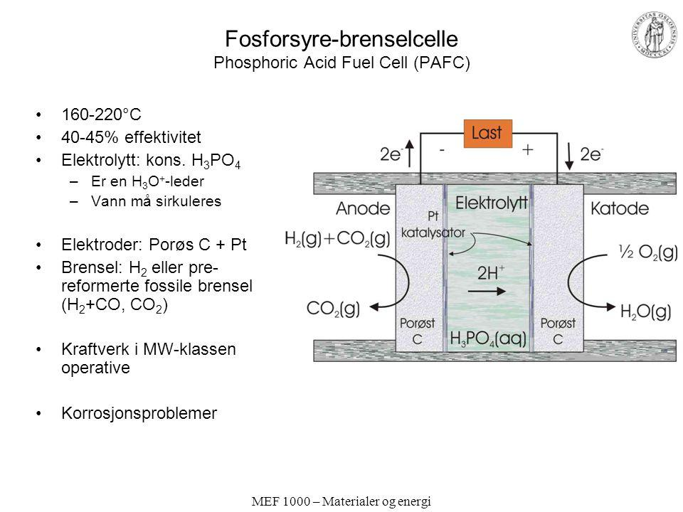 Fosforsyre-brenselcelle Phosphoric Acid Fuel Cell (PAFC)