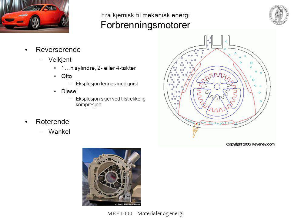 Fra kjemisk til mekanisk energi Forbrenningsmotorer