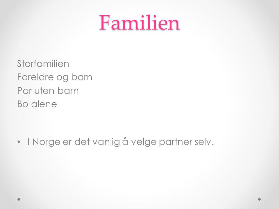 Familien Storfamilien Foreldre og barn Par uten barn Bo alene