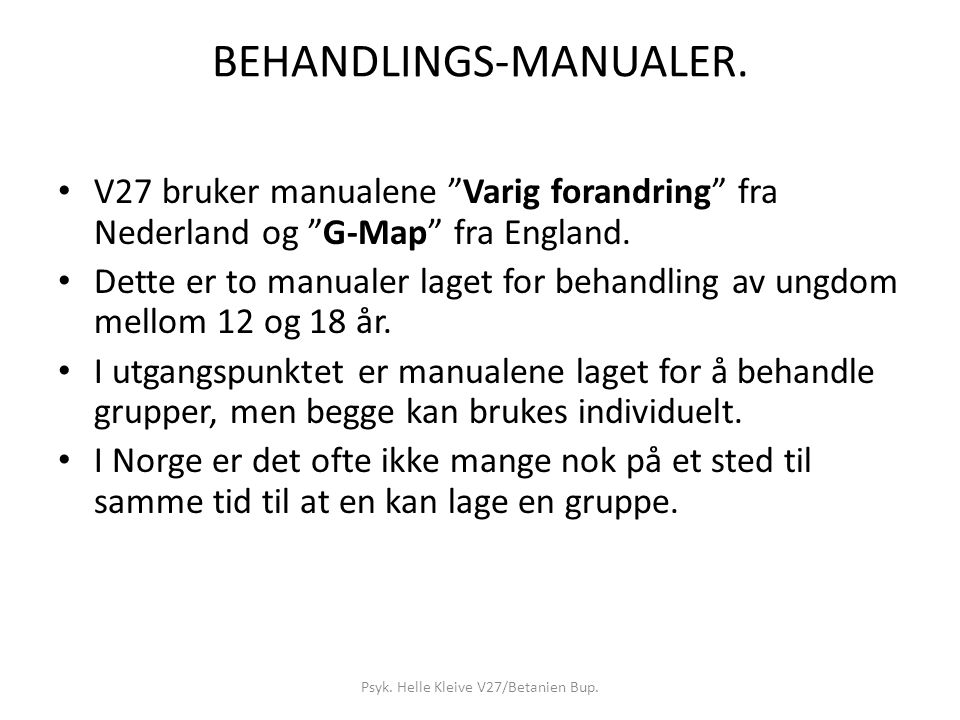 BEHANDLINGS-MANUALER.
