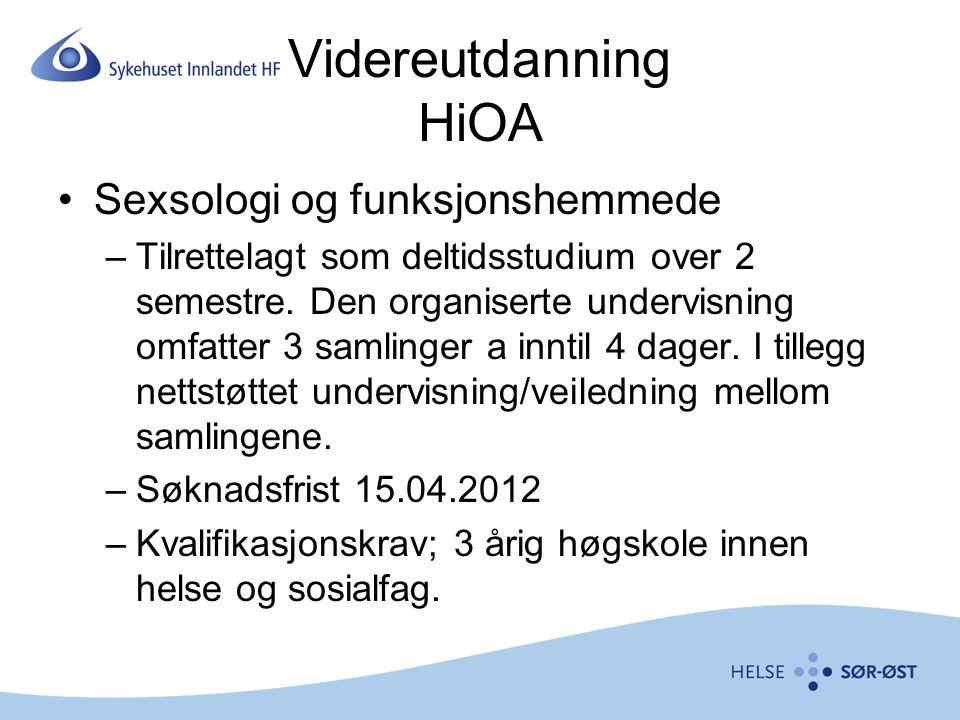 Videreutdanning HiOA Sexsologi og funksjonshemmede