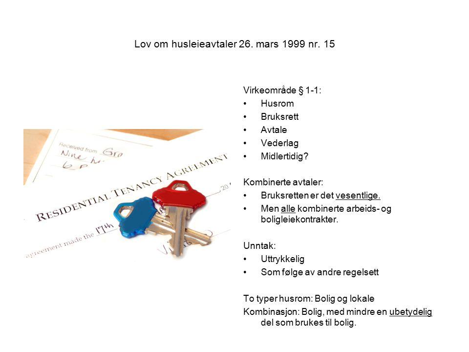Lov om husleieavtaler 26. mars 1999 nr. 15