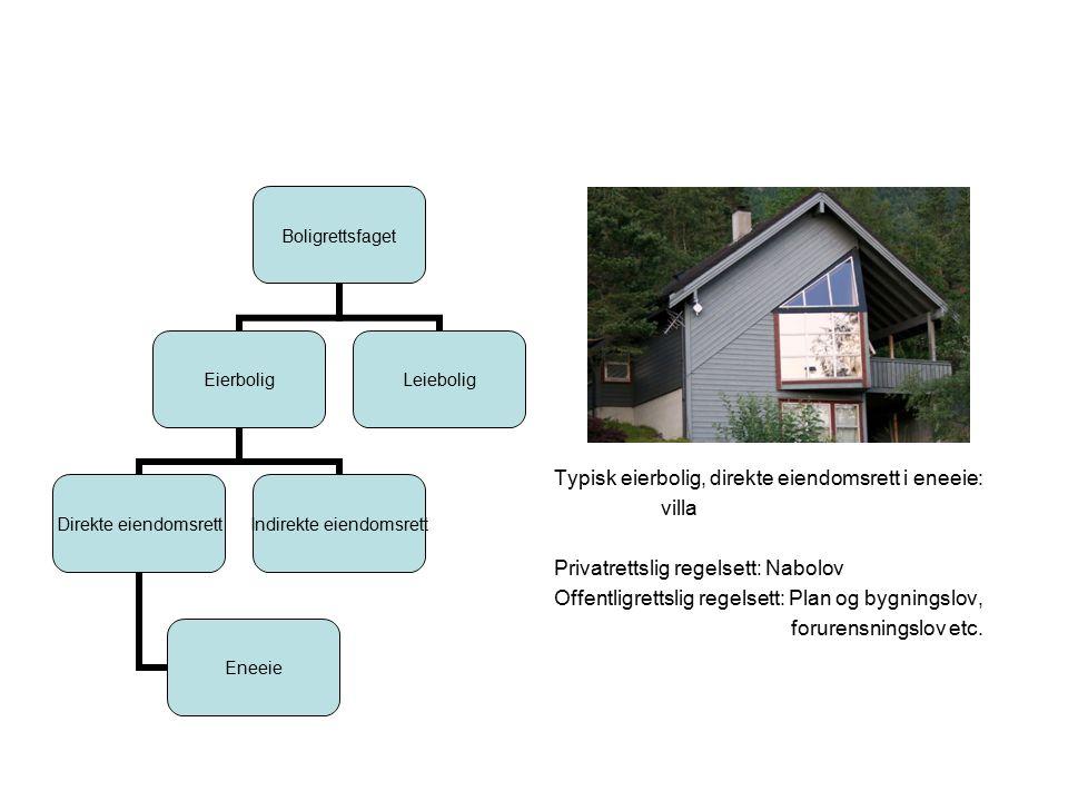Typisk eierbolig, direkte eiendomsrett i eneeie: villa Privatrettslig regelsett: Nabolov Offentligrettslig regelsett: Plan og bygningslov, forurensningslov etc.