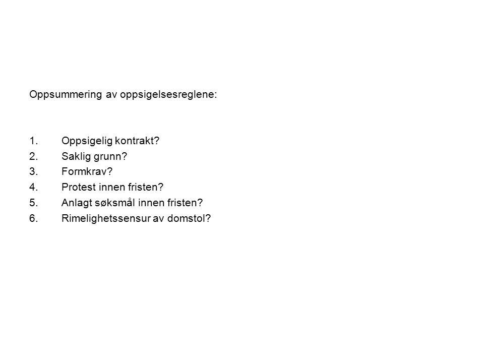Oppsummering av oppsigelsesreglene: