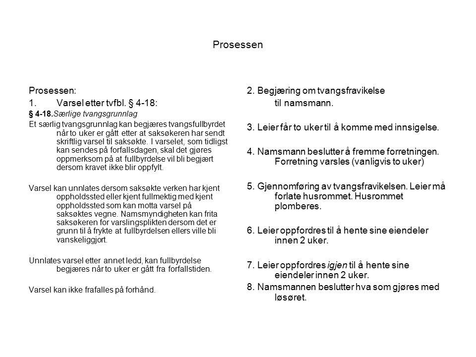 Prosessen Prosessen: Varsel etter tvfbl. § 4-18: