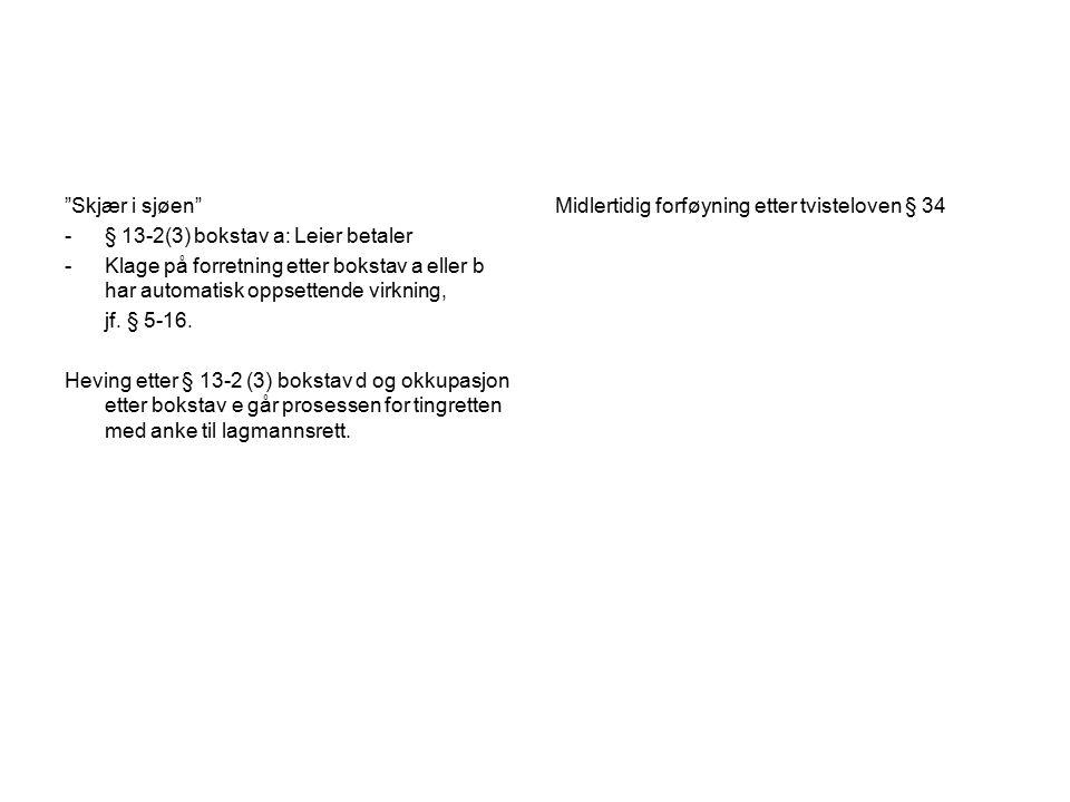 Skjær i sjøen § 13-2(3) bokstav a: Leier betaler. Klage på forretning etter bokstav a eller b har automatisk oppsettende virkning,