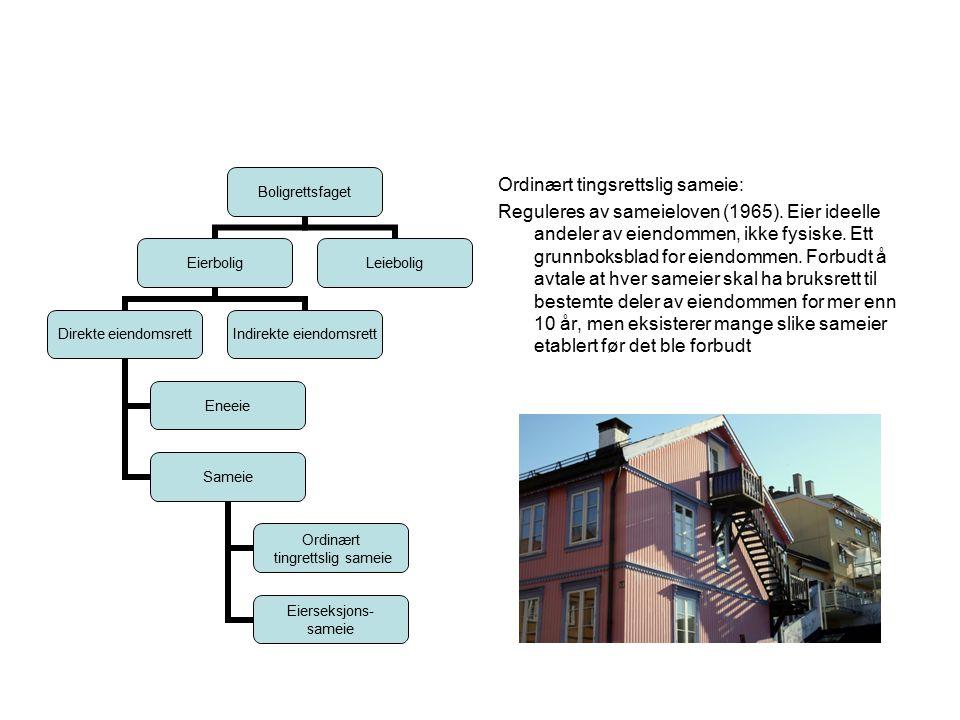 Ordinært tingsrettslig sameie: Reguleres av sameieloven (1965)