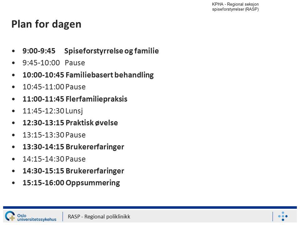 Plan for dagen 9:00-9:45 Spiseforstyrrelse og familie 9:45-10:00 Pause