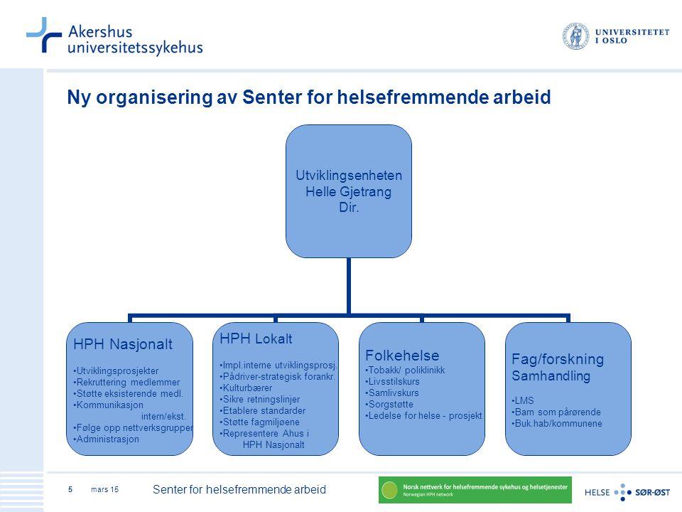 Ny organisering av Senter for helsefremmende arbeid