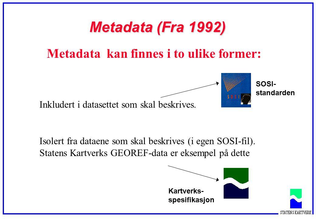 Metadata (Fra 1992) Metadata kan finnes i to ulike former: