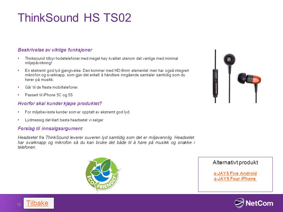 ThinkSound HS TS02 Tilbake Alternativt produkt