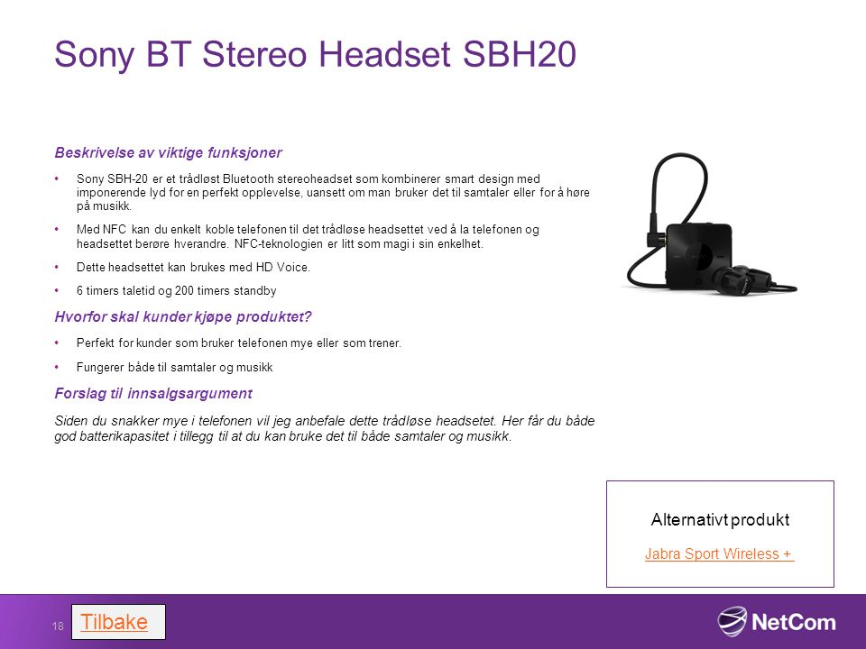 Sony BT Stereo Headset SBH20