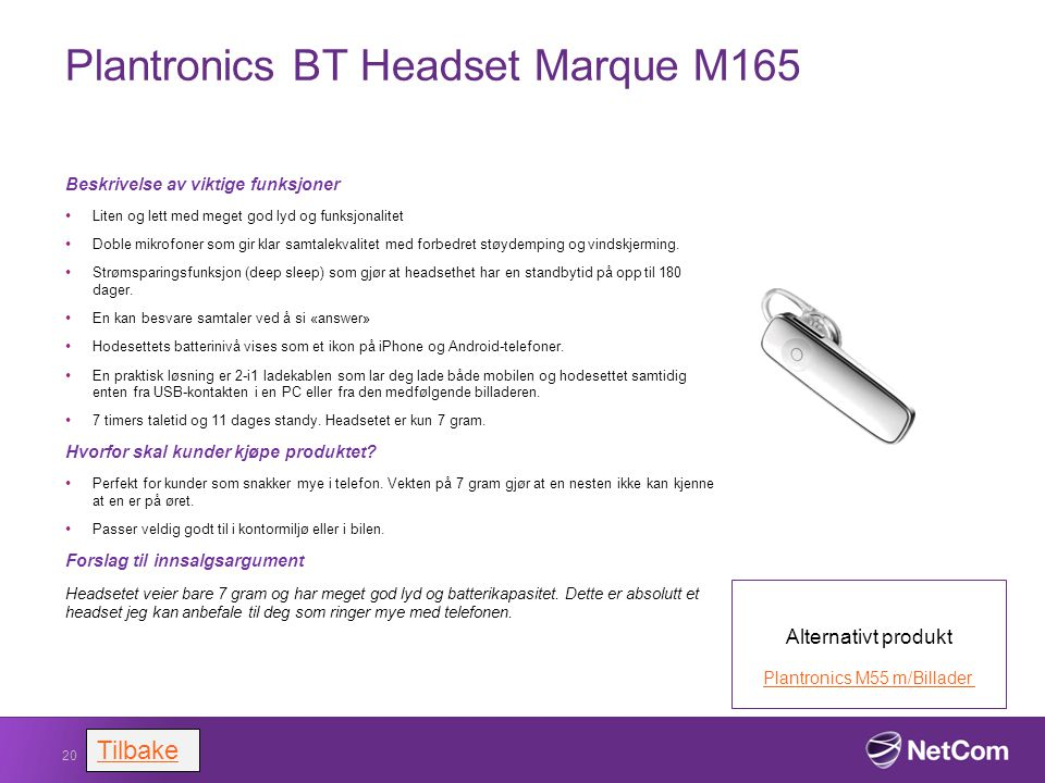 Plantronics BT Headset Marque M165
