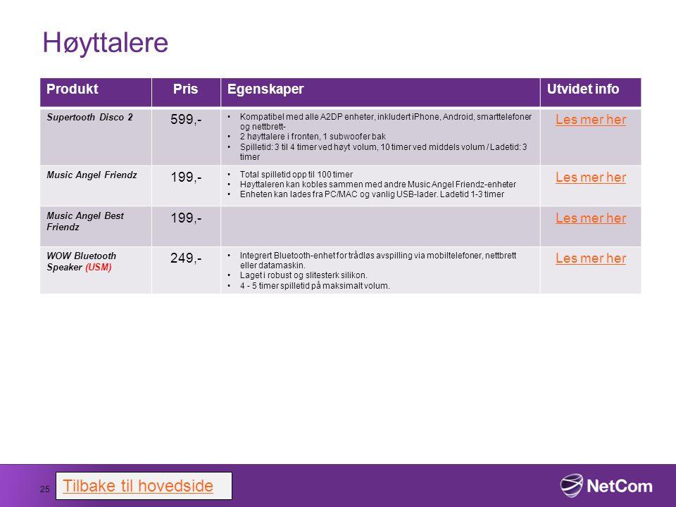 Høyttalere Tilbake til hovedside Produkt Pris Egenskaper Utvidet info