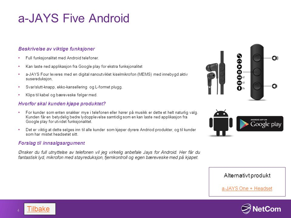 a-JAYS Five Android Tilbake Alternativt produkt
